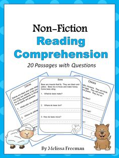 There are 20 non-fiction reading comprehension passages with simple questions for primary students in this package. It is best for students who have started to read independently. I would probably use it closer to the end of first grade or at the beginning of second grade (depending on the level of your students). All the answers are directly in the passages. Students find the information and answer in short sentences. All the passages are about animals.