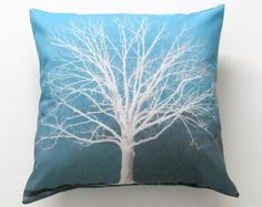 White Winter Tree Teal Turquoise Blue Pillow Cover by SunlitForest, $15.00