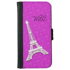 Eiffel Tower Fleur de Lis iPhone 6 Wallet Case #pink #paris #phonecase #eiffeltower