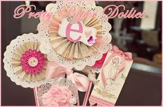 doily flowers - baby shower decos (neutral colours tho)