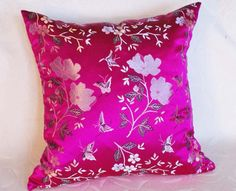 Floral Pillows, Decorative Designer Accent Throw Cushion Cover in Silvery White and Fushia Pink, Luxury Chinese Brocade 20x20. $45.00, via Etsy.