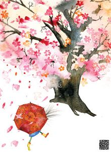 Masha D'yans Card- Bloom Tree Umbrella Walk