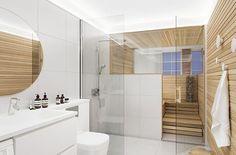Katso inspiraatiota omaan saunaremonttiisi. Kymmenen kuvaa erilaisista unelmien saunoista. Saunaremonttisi alkaa unelmoinnista ja päättyy hyviin löylyihin. Saunas, Bathroom Interior Design, Interior Design Living Room, Sauna Shower, Indoor Sauna, Sauna Design, Sauna Room, Spa Rooms, Bathroom Toilets