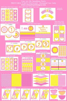 You Are My Sunshine Birthday Party PRINTABLE Instant