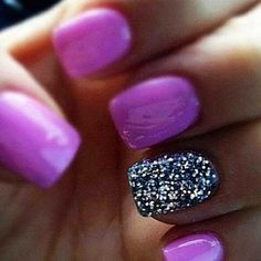Adorable! Magenta and sparkly nails