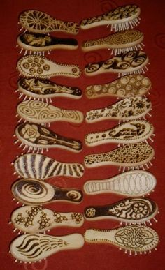 Wood Tattoos - Pyrography Craft & Design - Hairbrushes