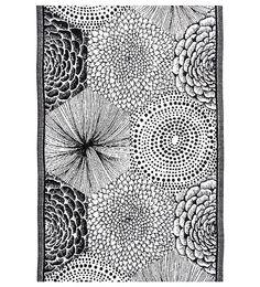 Ruut linen/cotton kitchen towel, Black/White & Blue/White