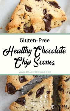 Healthy Chocolate Chip Scones (Gluten-Free) Healthy Chocolate Chip Scones are a low-carb, gluten-free, dairy-free treat made with chocolate chunks. They're perfect for both breakfast and dessert! Scones Sans Gluten, Vegan Scones, Dessert Sans Gluten, Bon Dessert, Healthy Scones, Dairy Free Treats, Gluten Free Sweets, Gluten Free Baking, Vegan Sweets