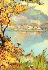 Vintage calendar prints of landscapes, village scenes, etc.