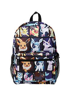59e76a896077 Canvas backpack from Pokemon featuring an Eevee Evolution characters print  design. Features padded back