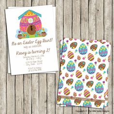 Bunny House Eggs Easter Invitation - Instant Download! by tlittleladydesigns, $8.00 USD