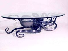 Octopus table with glass top (: