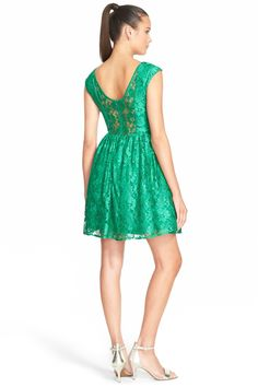 Cap Sleeve Lace Skater Dress (Juniors) by a. drea on @nordstrom_rack