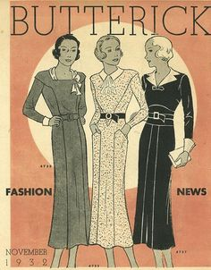 Butterick Fashion News, November 1932 featuring Butterick 4739, 4733 and 4737