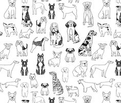 ©  Copyright  Andrea Lauren -  You are permitted to sell items you make with this fabric, but request you credit Andrea Lauren as the designer. Coordinates: Solids -- Warm, Solids - Cool, Dots  View other Dogs fabrics here