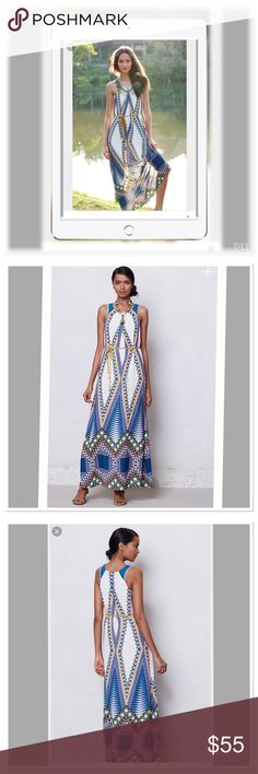 """Maeve Host Pic❤️ Anthropologie """"Pakpao"""" maxi dress Greek goddess! Side pockets and removable belt at waist. Attach slip. Anthropologie Dresses Maxi"""