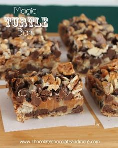 Magic Turtle Bars-Chocolate, Caramel and Pecans, come together in this fabulous Magic Bar Wow, who knew taking a few days off for the holidays would put me so out of whack? The kids may be on vacation from school and the hubby did get a few extra days off, but as the mom, I didn't get...