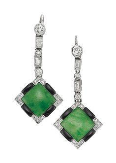 Pair of Jade, Black Onyx and Diamond Earrings.