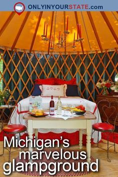 Travel Michigan USA Outdoors Glamping Luxury Camping Destinations Attractions Places To Visit Adventure Vacation Glampground Small Towns Great Lakes Resort Road Trips Forest Yurts Vineyards Lake Michigan Waterfront Yurt Camping, Camping Places, Camping Spots, Luxury Camping, Luxury Travel, Glamping, Michigan Travel, Michigan Usa, Lake Michigan