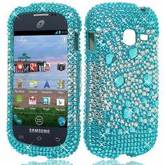 For Straight Talk Samsung Galaxy Centura S738C Blue Silver Diamond Hard Case