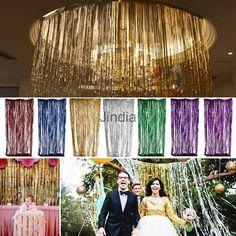 Metallic Shiny Tinsel Foil Fringe Window Curtain Door Wedding Party Decoration