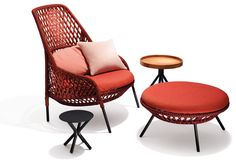 AHNDA, a lounge chair and footstool, with handcrafted, woven textile cords by Stephen Burks and DEDON Milan Furniture, Furniture Styles, Cool Furniture, Furniture Design, Gouts Et Couleurs, Beautiful Interior Design, Swinging Chair, Country Furniture, Chair And Ottoman