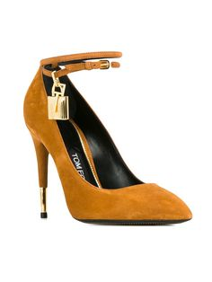 Tom Ford Whiskey Suede and Gold Lock Ankle Strap Pumps