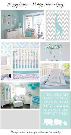 Nursery Design  Modern Aqua & Gray Ideas & Inspiration  www.frostedevents.com @frostedevents
