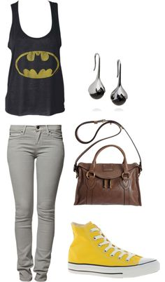 Yellow: Batman, created by kamrynxxatl on Polyvore