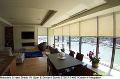 Motorized screen shades. Somfy motorization kits @automatedshadestore.com Motorized Shades, Modern Blinds, Home Automation, Window Coverings, Smart Home, Windows, Table, Furniture, Diy