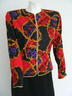 TALBOTS ADRIANNA PAPELL 100% Silk Jacket Red Black Gold Artsy Print Size 8 #TalbotsbyAdrianaPapell #BasicJacket