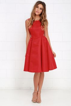 Everything She Does Red Midi Dress at Lulus.com!