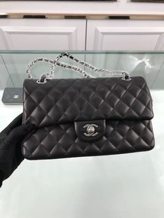 84332b21568363 IN STOCK 1:1 Chanel 2.55 Classic Double Flap - Small Black Lambksin Silver  HW · Dust Bag