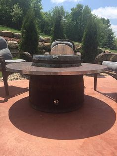 Wine Barrel Patio Table Fire Pit with Chairs Wine Barrel Fire Pit, Wine Barrel Coffee Table, Round Coffee Table, Fire Table, Patio Table, Wine Barrel Crafts, Florida Decorating, Outdoor Cooler, Fire Pit Chairs