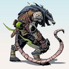 Fantasy Races, Fantasy Warrior, Fantasy Rpg, Dark Fantasy, Warhammer Skaven, Warhammer Art, Warhammer Fantasy, Fantasy Character Design, Character Concept