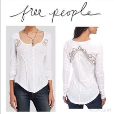 Free people white crochet Henley shirt New with tags. Purchased from Nordstrom.  Scoop neck with buttons in front. Crochet detail in arms and back Free People Tops Tees - Long Sleeve