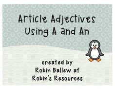 Using Article Adjectives A and An From Robin's Resources. Simple Freebie for grades 2nd Grade Ela, 2nd Grade Classroom, 3rd Grade Reading, Literacy Games, Literacy Stations, Literacy Skills, Phonics Reading, Reading Activities, Teaching Reading