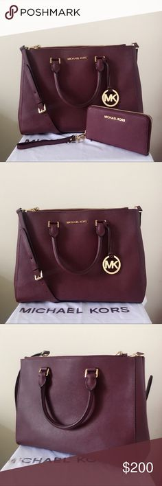 Michael Kors Large Selma With Matching Wristlet Beautiful burgundy color with gold detailing! Gorgeous set! Both are lightly used. Authentic.  The Sutton Satchel is in large size, has a long strap. Shows minor wear on the hardware, please see pictures for detail.  Wallet is in really good condition.  Measurement: 12.5*9.5*4 inch  Purse comes with a dust bag Michael Kors Bags Satchels