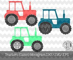 Monogram Tractors with Cabin .DXF/.SVG/.EPS File for use with your Silhouette Studio Software