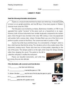 This lesson is designed for Grade 4 ESL reading. The theme for this lesson is musical instruments, with the information themed around pianos.