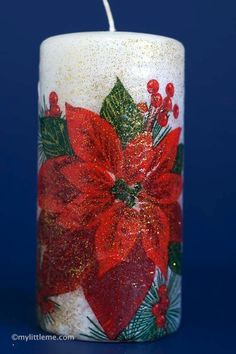 christmas crafts | christmas candle decoupage gift craft