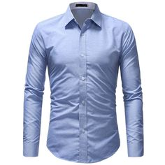 BrosWear Classic Casual Business Office Solid Color Dress Shirt Long Sleeve Cotton Dress, Long Sleeve Shirt Dress, Long Sleeve Shirts, Formal Tuxedo, Tuxedo For Men, Plain Shirts, Men's Shirts, White Shirts, Dress Shirts