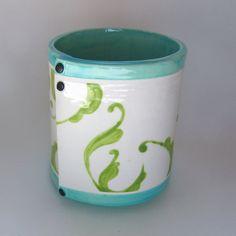whimsical pottery Vase ceramic kitchen Utensil Holder by maryjudy
