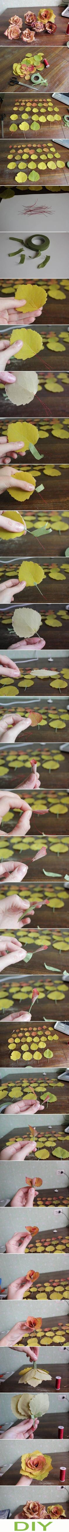 Make a rose from leaves! #DIY, #flower, #Valentine's