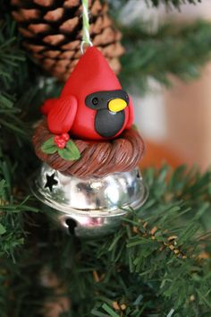 Cardinal Ornament - Polymer Clay Ornament - Christmas Ornament - Keepsake Ornament