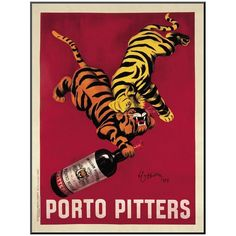"""Art.com """"Porto Pitters"""" Wall Art by Leonetto Cappiello ($168) ❤ liked on Polyvore featuring home, home decor, wall art, red, vertical wall art, polish posters, red wall art and red home decor"""