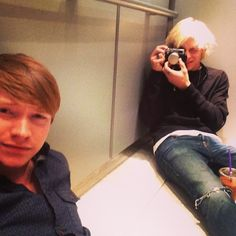 Calum and Ross Lynch, still hanging out inexplicably on an elevator floor.
