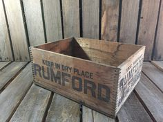 Vintage Rumford Baking Powder Wood Crate/Wooden by UpTheAntiqueCo