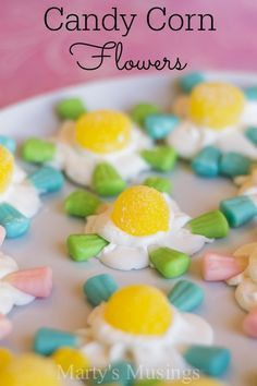 These candy corn flowers are an easy and fun way to celebrate spring or Easter with the kids at home or at school.