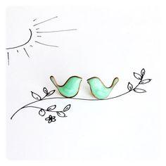 Christmas sale Mint Birds Earrings - posts studs earrings ($17) ❤ liked on Polyvore